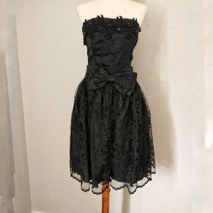 Vtg Scott McClintock Dress Sz 8 Black Strapless Be